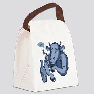 blue-cowski2-T Canvas Lunch Bag