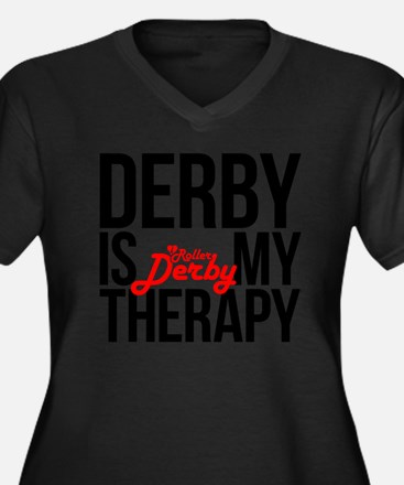 Derby Therap Women's Plus Size Dark V-Neck T-Shirt