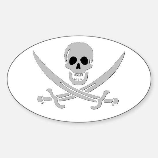 Skull & Crossed Swords Oval Decal