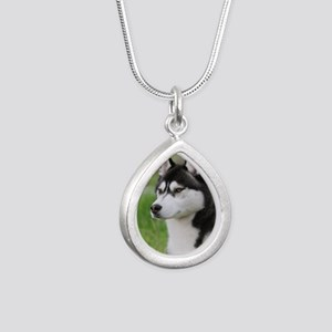 Siberian Husky 9Y570D-00 Silver Teardrop Necklace
