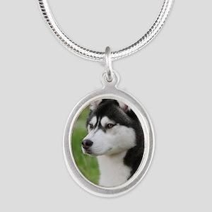 Siberian Husky 9Y570D-006 Silver Oval Necklace