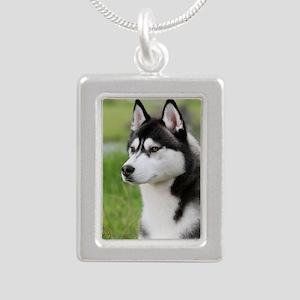 Siberian Husky 9Y570D-00 Silver Portrait Necklace