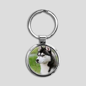 Siberian Husky 9Y570D-006 Round Keychain
