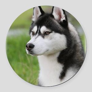 Siberian Husky 9Y570D-006 Round Car Magnet