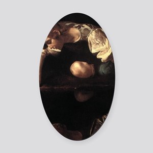 Narcissus Oval Car Magnet