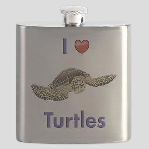 I-love-turtles-tall Flask