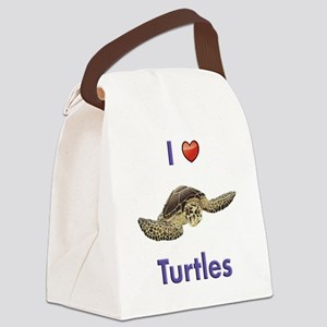 I-love-turtles-tall Canvas Lunch Bag
