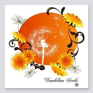 "Dandelion Seeds Square Car Magnet 3"" x 3"""