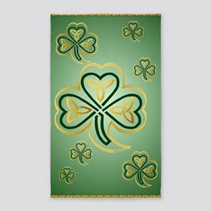 LargePoster Gold and Green Shamrock 3'x5' Area Rug