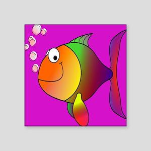 """Happy_Fish_10by10_Purple Square Sticker 3"""" x 3"""""""