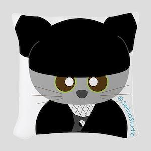 ninja cat Woven Throw Pillow