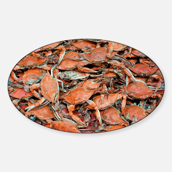 blue crabs glovesf Sticker (Oval)