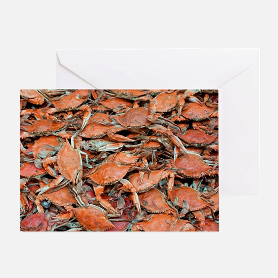 blue crabs glovesf Greeting Card