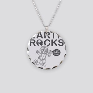 earth_rocks_white Necklace Circle Charm