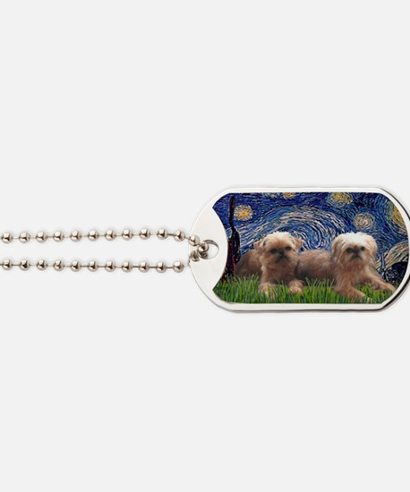 LIC-Starry Night - Two Brussels Griffon Dog Tags