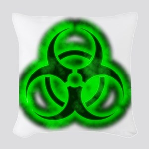 glowingBiohazardGreenTCrop Woven Throw Pillow