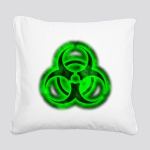 glowingBiohazardGreenTCrop Square Canvas Pillow