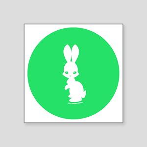 """Bunny Green 2.25_button Square Sticker 3"""" x 3"""""""