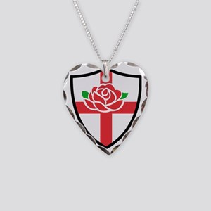 Rugby England English Rose Sh Necklace Heart Charm
