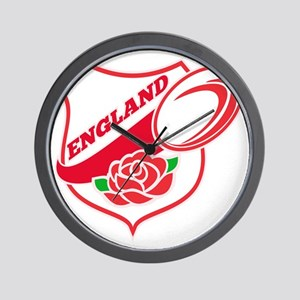 Rugby England English Rose Ball Shield Wall Clock