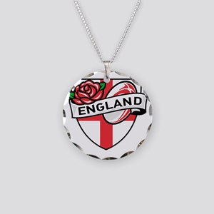 Rugby England English Rose B Necklace Circle Charm