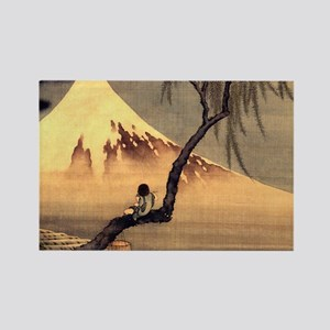 Boy in front of Fujiama.travel Rectangle Magnet