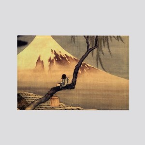 Boy in front of Fujiama.shirt Rectangle Magnet