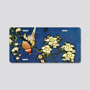 Bullfinch and drooping cher Aluminum License Plate