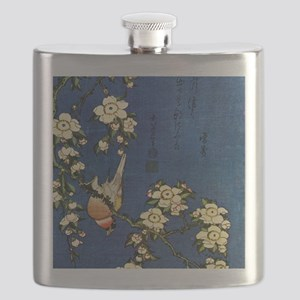 Bullfinch and drooping cherry.square Flask