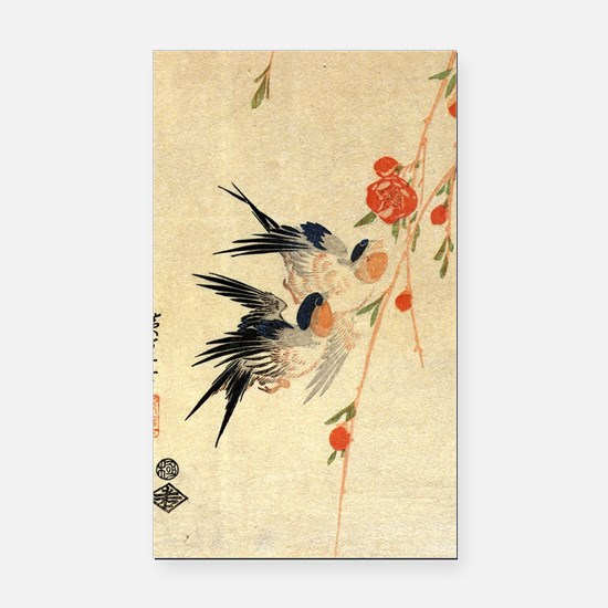 Swallow and peach flowers.tra Rectangle Car Magnet
