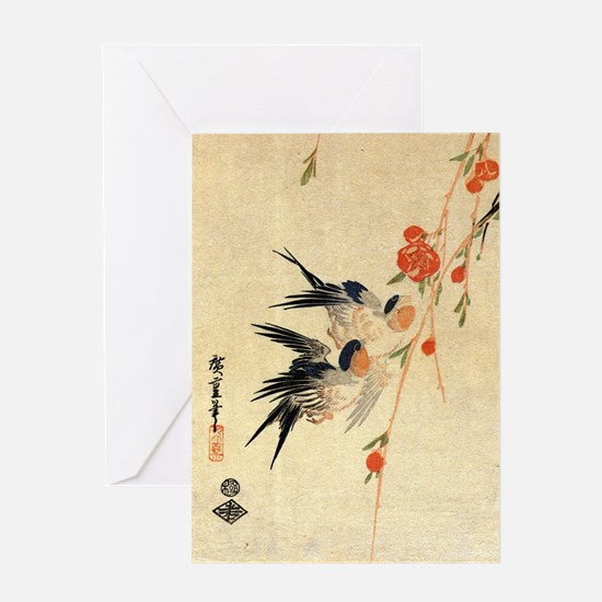 Swallow and peach flowers.travel.p3 Greeting Card