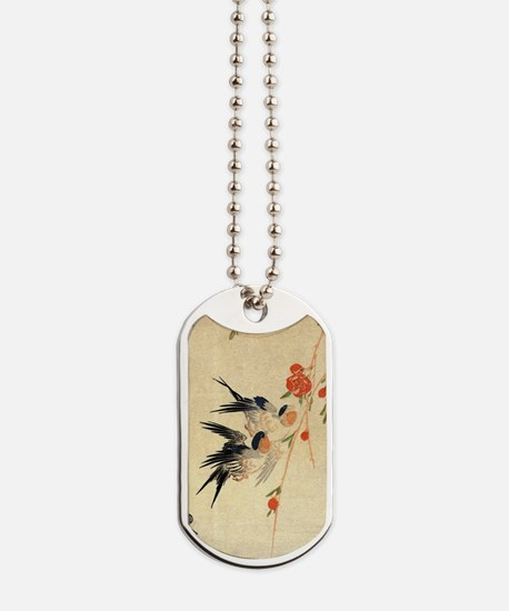 Swallow and peach flowers.travel.p3 Dog Tags