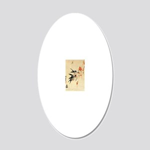 Swallow and peach flowers.tr 20x12 Oval Wall Decal