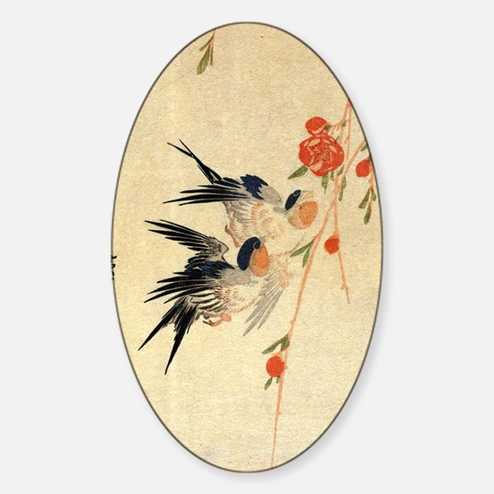 Swallow and peach flowers.travel.p3 Sticker (Oval)