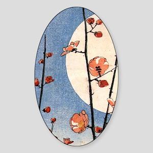 Blooming plum tree moon.p3 Sticker (Oval)