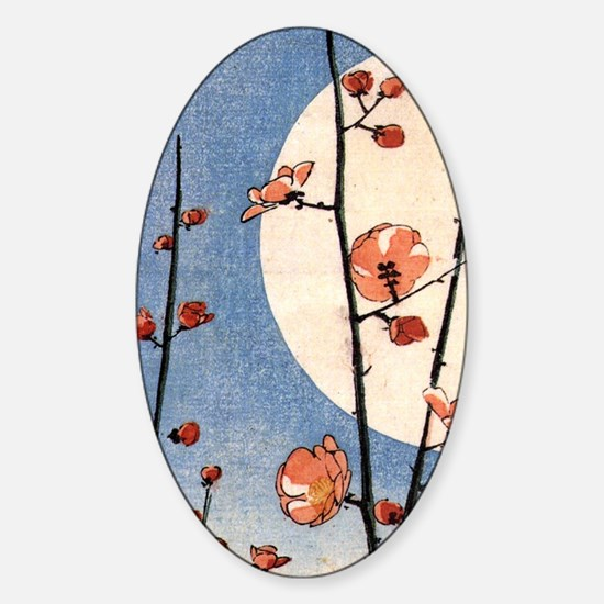 Blooming plum tree moon.p3 Sticker (Oval)