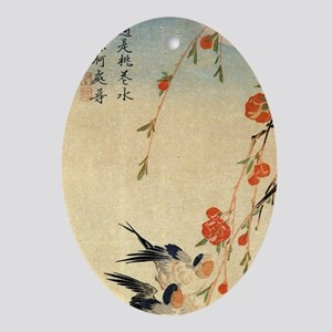 Swallow and peach flowers.travel.p2 Oval Ornament