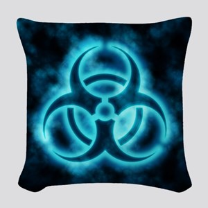 glowingBiohazard2blue Woven Throw Pillow