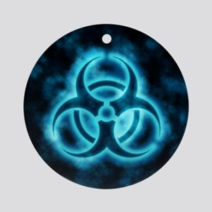 glowingBiohazard2blue Round Ornament