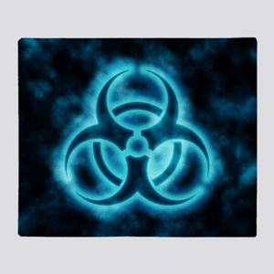 glowingBiohazard2blue Throw Blanket
