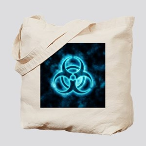 glowingBiohazard2blue Tote Bag