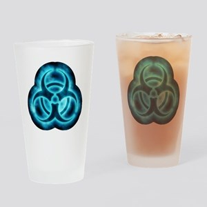 glowingBiohazard2blueTCrop Drinking Glass