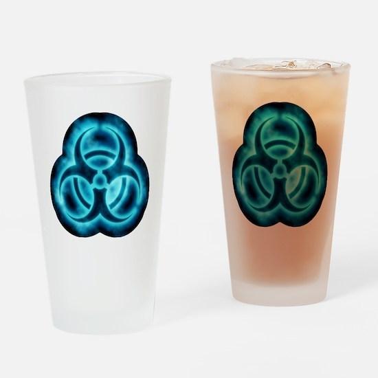 glowingBiohazard2blueTCrop Drinking Glass