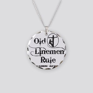 old linemen rule 1 Necklace Circle Charm