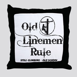 old linemen rule 1 Throw Pillow