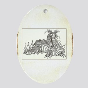 dragon on parchment framed Oval Ornament