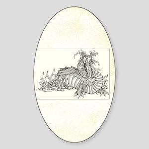 dragon on parchment framed Sticker (Oval)