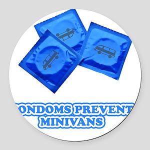 condoms-minivans Round Car Magnet