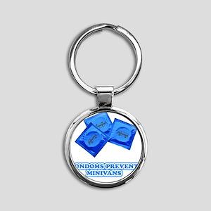 condoms-minivans Round Keychain