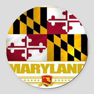 Maryland (Flag 10) Round Car Magnet
